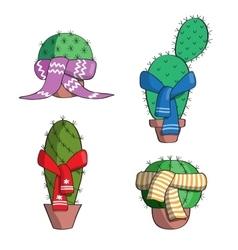 Set cactus in scarves vector