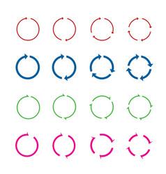Set color circle arrows vector