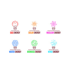 set energy sources logo templates flat style vector image