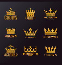 set isolated golden crowns for company branding vector image