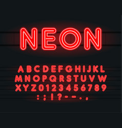 set neon letters numbers and signs vector image