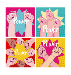 Set of girl power cards vector
