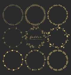 set of golden floral round frames for decoration vector image