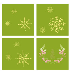 set of snowflake icon sign design red background vector image