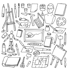 Set with doodle art elements vector