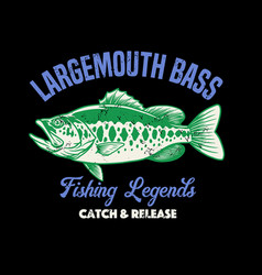 shirt design largemouth bass fishing vector image