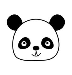 Silhouette happy panda head wild animal vector