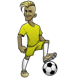 soccer player pose with ball vector image