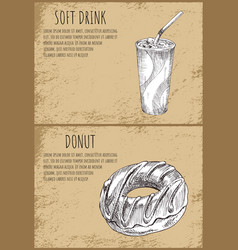 soft drink donut set posters vector image