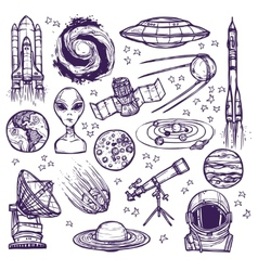 Space sketch set vector image