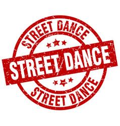 Street dance round red grunge stamp vector