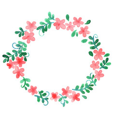 Sweet pink flower and ivy leaf wreath vector