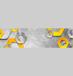 tech hexagons on abstract grunge corporate banner vector image