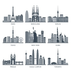 Urban Skylines Icons Set vector