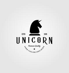 vintage unicorn horse chess logo retro vector image