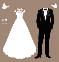 wedding card with the clothes of the bride and vector image