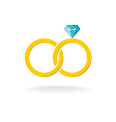 wedding rings logo two golden crossed rings vector image