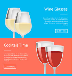 wine glasses cocktail time set of web posters vector image