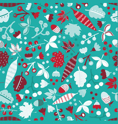 winter leaves and flowers seamless pattern with vector image