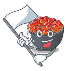 With flag salmon roe with isolated on mascot vector
