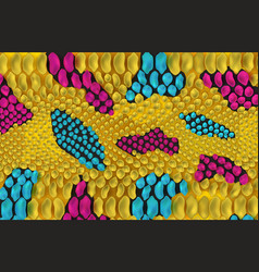 yellow snake skin texture with blue and pink spots vector image