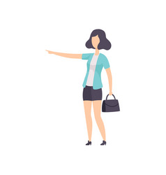 young woman pointing forefinger at the side vector image