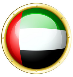 arab emirates flag on round metal badge vector image vector image