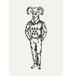 goat hipster Black and white vector image vector image
