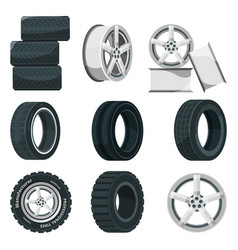 icon set of different disks for wheels and tires vector image vector image