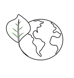 Line global earth planet with leaf symbol to vector