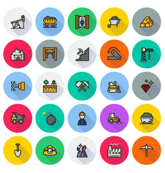 mining icon collection for web app vector image vector image