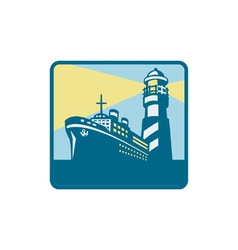 Passenger Ship Cargo Boat Lighthouse Retro vector image vector image