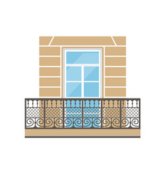 balcony with wrought iron railing in classic style vector image vector image