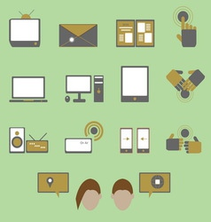 Media and communication color icons on green vector image
