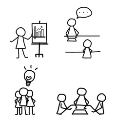set of hand drawing cartoon business vector image vector image