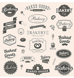 Set of vintage bakery badges and labels vector image vector image