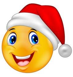 Smiling smiley emoticon in a santa hat vector image