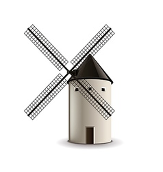 Windmill isolated on white vector image