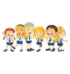 Boys and girls in school uniform vector image vector image