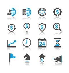 Business and management icons reflection vector image vector image