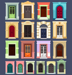 exterior view on isolated building doors vector image