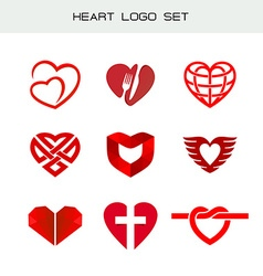 Heart logo set Red heart symbols Heart icon for vector image vector image