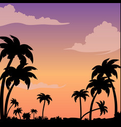 sunset on a tropical island against a silhouette vector image