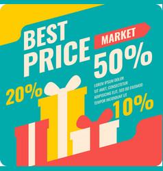 Banner best price in flat design retro vector