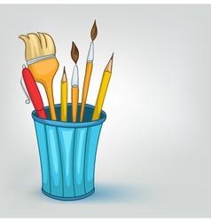cartoon pencil set vector image vector image