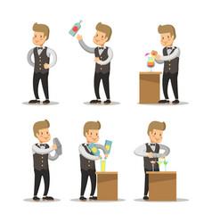 happy barista cartoon barman with cocktails vector image vector image
