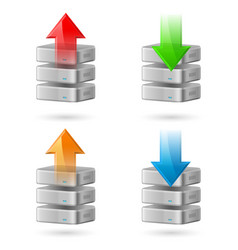icon set of computer database with upload and vector image vector image