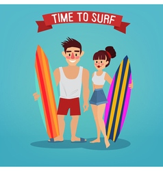 Man and Woman with Surf Time to Surf Travel vector image vector image