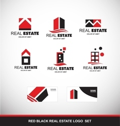 Red black real estate logo icon set vector image vector image