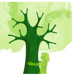tree hug children nature love concept vector image vector image